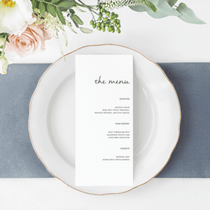 Wedding Dinner Menu Editable