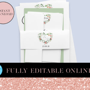 Minimalist Floral Belly Band | Belly Bands | Printable Belly Bands | Instant Download Digital Editable PDF | Invitation Suite Parts