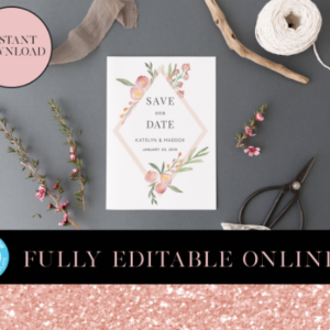 Peach Floral Save the Date | Clean Invites | Save the Date Template | Bridal Party | 5×7 Invite | Instant Download Digital Editable PDF