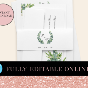 Greenery Printable Belly Bands | Belly Bands | Printable Belly Bands | Instant Download Digital Editable PDF | Invitation Suite Parts