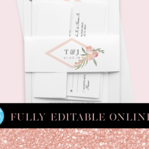 Pink Florals Printable Belly Bands | Belly Bands | Printable Belly Bands | Instant Download Digital Editable PDF | Invitation Suite Parts