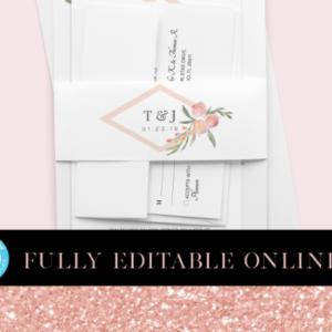 Pink Florals Printable Belly Bands | Belly Bands | Printable Belly Bands | Instant Download Digital Editable PDF | Invitation Suite Parts