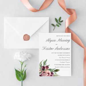 Plum & Pink Floral Wedding Invitations 5×7